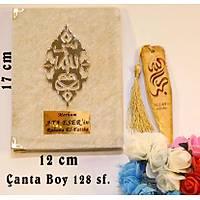 Kadife kaplý yasin kitab Geniþ Aynalý Pleksi Allah Lafýzlýý Çanta Boy 12x17 cm 128 sf.