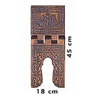 Küçük Boy Selçuklu Yakma Desenli Ahþap Rahle 18x45 cm