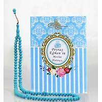 Yasin Kitabý 99 taneli Namaz Tesbih Mevlüt hediyesi seti Mavi kapak Yasin