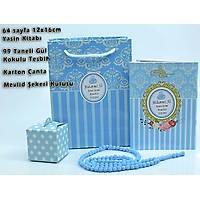 Karton Çantalý Yasin Kitabý set Mavi Kapak 64 Sayfa