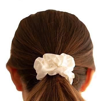 Büyük İpek Saç Tokası - Beyaz