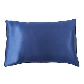 Premium Gece Mavi Saf Ýpek Yastýk Kýlýfý
