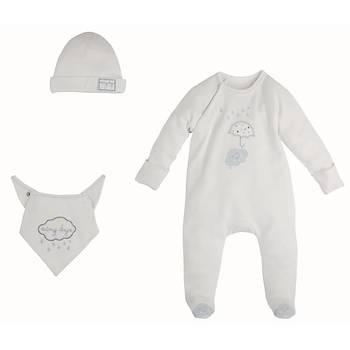 Ýdil Baby Tulum 3lü Beyaz  0-3 Ay