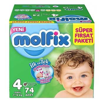 Molfix Bebek Bezi 4 Beden Maxi 7-14 Kg 74lü Süper Fýrsat Paketi