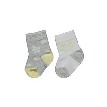 Bebetto Çorap Soket 2li Gri - Beyaz  0-6 Ay