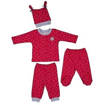 Bebepan Pijama Takýmý Mrs.Owl Emprime Puantiyeli 3-6 Ay