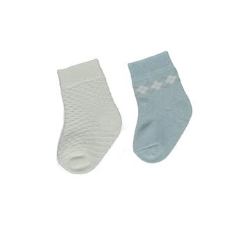Bebetto Çorap Soket 2li Bamboo Mavi Ekose - Ekru Kare  6-12 Ay