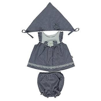 Bebetto 3lü Takým Elbiseli Dokuma Tiny Girl Lacivert  9-12 Ay