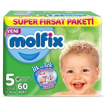 Molfix Bebek Bezi 5 Beden Junior 11-18 Kg 60lý Süper Fýrsat Paketi