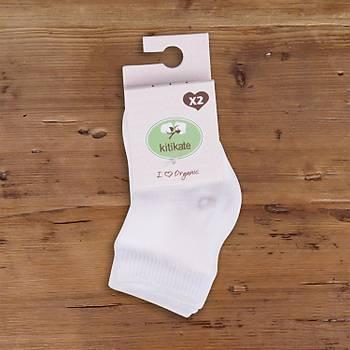 Kitikate Organik Çorap Soket 2li Ekru  12-18Ay