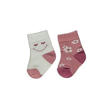 Bebetto Çorap Soket 2li Ekru - Mürdüm  0-6 Ay