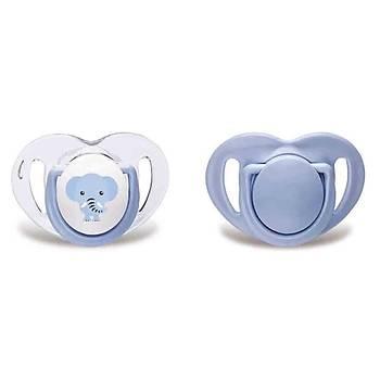 Mamajoo Ortodontik Silikon Emzik 2li 6+ Ay Fil Mavi