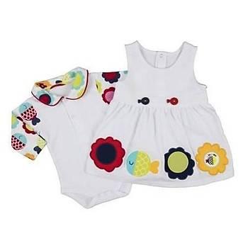 Bebepan Elbise Bodyli Mrs.Fish Penye Emprime Beyaz  3-6 Ay