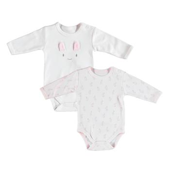 Bibaby Organik Body 2li Rabbit Girl Ekru - Pembe  3-6 Ay