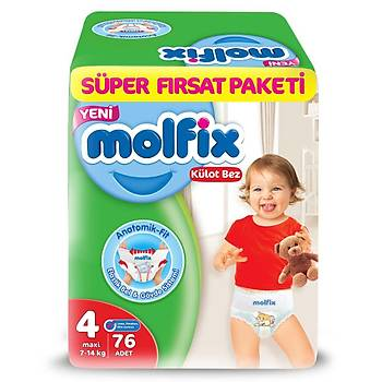 Molfix Külot Bebek Bezi 4 Beden Maxi 7-14 Kg 76lý Süper Fýrsat Paketi