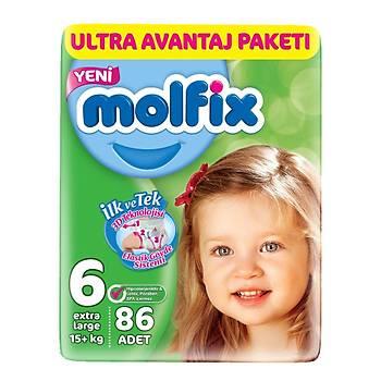 Molfix Bebek Bezi 6 Beden Extra Large 15+ Kg 86lý Ultra Avantaj Paketi