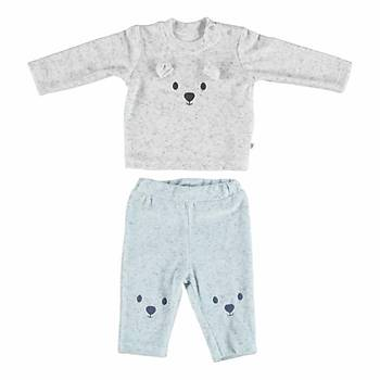 Bibaby 2li Takým Small Bear Ekru - Mavi 9-12 Ay