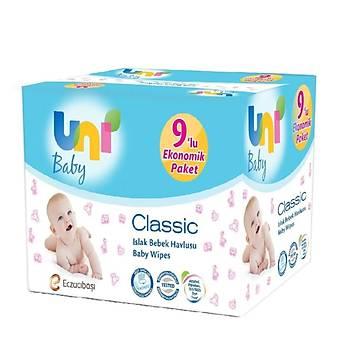 Uni Baby Classic Islak Bebek Havlu Mendil 9x56lý Ekonomik Paket