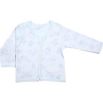 Premom Ceket Hayvanlar Alemi Mavi - Beyaz  9-12 Ay