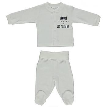 Bebetto Pijama Takýmý Patikli Penye Little Man Lacivert  3-6 Ay