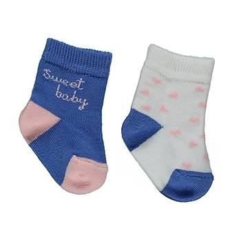 Bebetto Çorap Soket 2li Saks  0-6 Ay