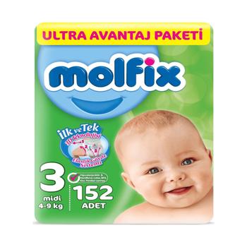 Molfix Bebek Bezi 3 Beden Midi 4-9 Kg 152li Ultra Avantaj Paketi