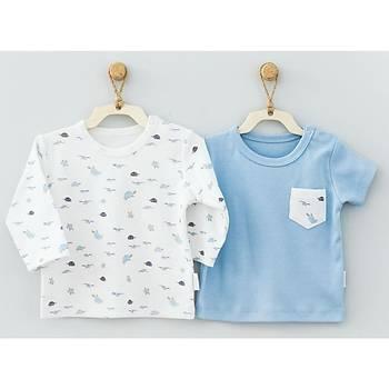 Andy Wawa T-Shirt 2li Baby Caretta Mavi  9 Ay