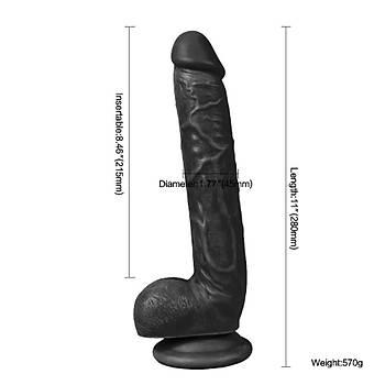 Uzun ve Kalýn Zenci Dildo Et Dokusu Süper Realistik 28cm