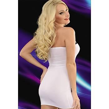 Transparan Beyaz Mini Bluz