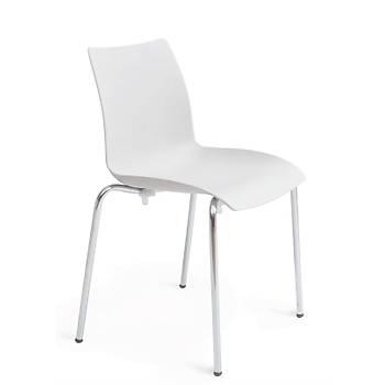 Alya Beyaz Kromaj Alayký Kolsuz Sandalye