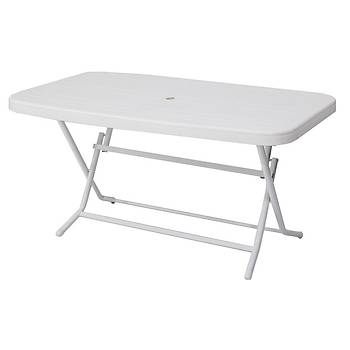 Delta Katlanabilir Metal Ayak Plastik Masa Beyaz 90x150