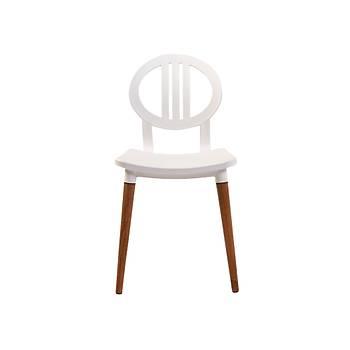 Tulip Delta Plastik Kolsuz Ahþap Ayaklý Sandalye Beyaz