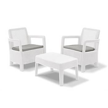 Tarifa Üçlü Beyaz Set, Minderli, 4 Parça, 3+1+1+S