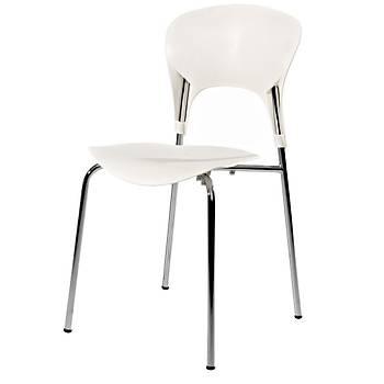Astra Beyaz Kolsuz Metal Ayaklý Sandalye