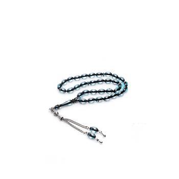 Çift Renkli Parlament Mavisi Sürmeli Kehribar Tesbih Metal Püsküllü Misbah Misbaha Rosary Zikr