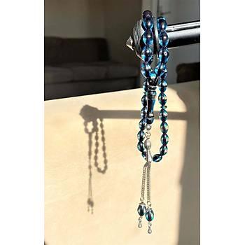 Çift Renkli Parlament Mavisi Kehribar Tesbih Metal Püsküllü Misbah Misbaha Rosary Zikr