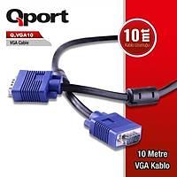 Qport Q-Vga10 15 Pin Fitreli 10 Metre Vga Kablo