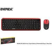 Everest Round KM-6282 Kablosuz Klavye+Mouse Siy-Ma