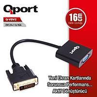 Qport Q-VDV2 Dvi 24+1 to VGA Aktif Dönüþtürücü