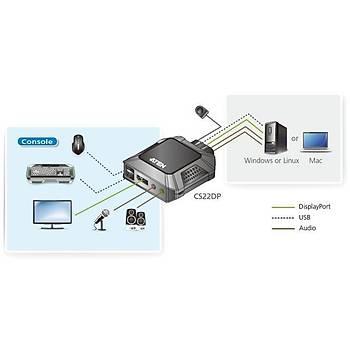 Aten CS22DP 2 Pc Dýsplay Port 2Port USB 2.0 Kvm Switch