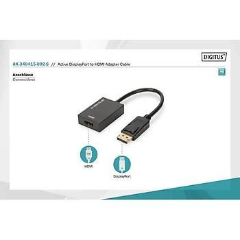 Digitus AK-340415-002-S DISPLAY PORT to HDMI Erkek-Diþi 0.15Mt HDMI 2.0 Dönüþütürücü Adaptör