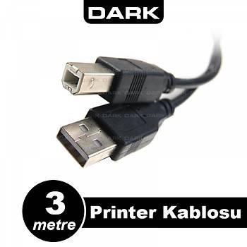 Dark DK-CB-USB2PRNL300 3 Mt USB 2.0 to USB 2.0 Tip B Erkek-Erkek Yazýcý Data Kablosu
