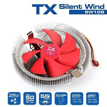 Tx TXCCSW108 Silent Wind 108 Intel Amd 10.8cm Kýrmýzý Fanlý Ýþlemci Soðutucu