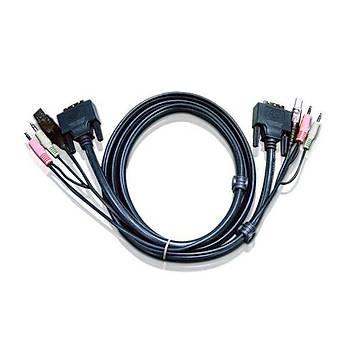 Aten 2L-7D03UD 3 Mt USB Klavye Mouse Monitör Hoparlör Dual DVI-D KVM Switch Kablosu