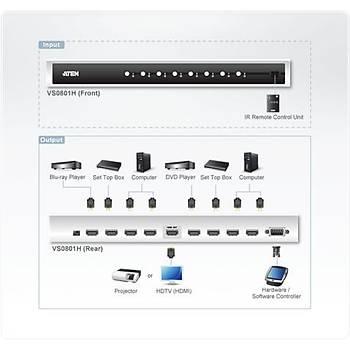 Aten VS0801H 15 Mt 8 Giriþ 1 Çýkýþ HDMI 1080p Uzaktan Kumandalý HDMI Çoklayýcý Splitter