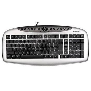 A4 Tech KB-21 USB F TR Multimedia Gümüþ-Siyah Kablolu Klavye