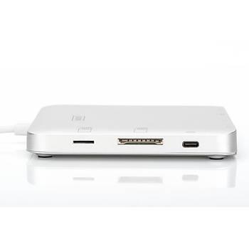 Digitus DA-70863 USB 3.1 Type C to HDMI miniDP VGA USB Type C PD 3xUSB 3.0 RJ45 Kart Okuyucu Ses Portlu Docking Station