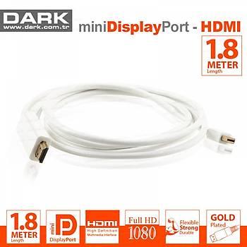 Dark DK-CB-MDPXHDMIL180 1.8 Mt mini DISPLAY PORT to HDMI 1080 Altın Uçlu Dönüştürücü Kablo