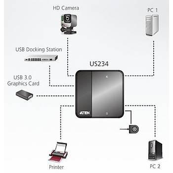 Aten US234 4 Port USB 3.0 2 Bilgisayar 4 USB Cihazý USB 3.0 Paylaþým Cihazý