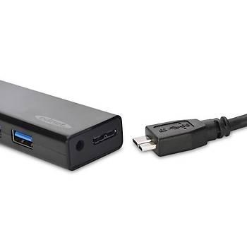 Ednet ED-85155 USB 3.0 to 4 Port USB 3.0 Adaptörlü Siyah USB 3.0 Çoklayýcý Hub